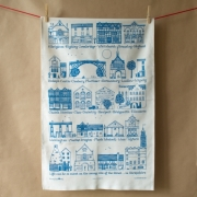 Shropshire Towns Tea Towel - dark turquoise